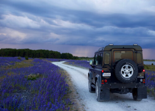 Land Rover in countryside birthday card