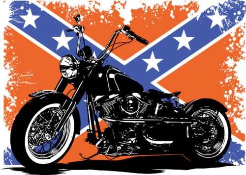 Black motorbike with flag in background birthday card